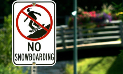 No snowboarding area